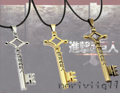Anime Attack On Titan Eren Jaeger Key Necklace Pendant Leather Rope Cosplay Gift