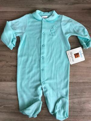 Vintage Carter's Blue Sleeper Size 6-9 M Coverall Footed Pjs Sleep Play wear