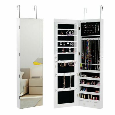 Wall & Door Mounted Mirrored Jewelry Cabinet Storage Organizer W/ Lights&Drawer