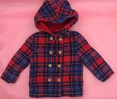 Vintage 60's 70's Plaid Hooded Toddlers Boys Red Jacket Size 2 T Lined Button