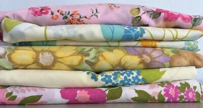 Lot Of 5 Vintage Floral Flat & Fitted Sheets Full Fabric Cutters Craft Cannon +