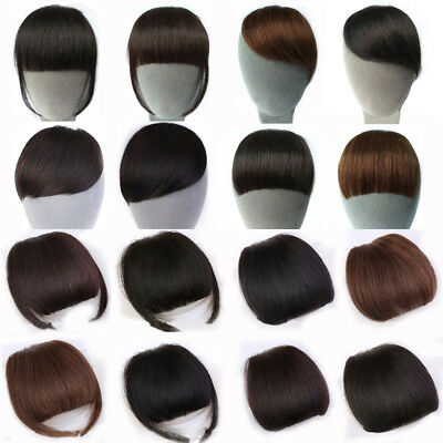 1Pcs Women Clip-In Front Neat/Inclined Bangs Fringe Short Human Hair Extensions