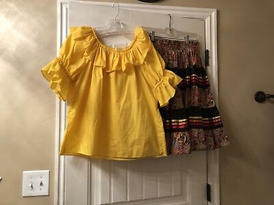 Square Dance Skirt (M) & Blouse (M) Yellow Top With Multi Color Pattern Skirt.