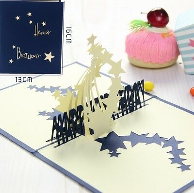 3D Pop Up Card Happy Birthday Star Gift Blessing Creative Festival Hot Cards