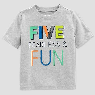 Carters Just One You Boys Gray Five Fearless Fun 5th Birthday T Shirt 5T