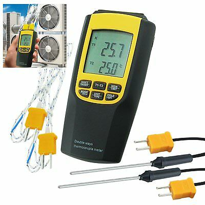 K / J Type Thermocouple Thermometer 4 Probes Temperature Meter Digital Tester