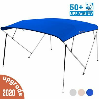 """4 Bow Boat Bimini Tops Boat Canopy Boat Shade with Support Pole Boot Blue 73-78"""""""
