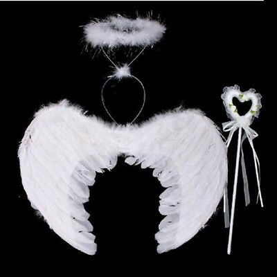 Feather Angel Wings Costume + Wand Halo Adult Kids Halloween Party Fancy Dress