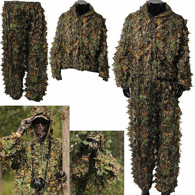 3D Camouflage Leaf Clothing Woodland Hunting Camo Sniper Archery Ghillie Suit