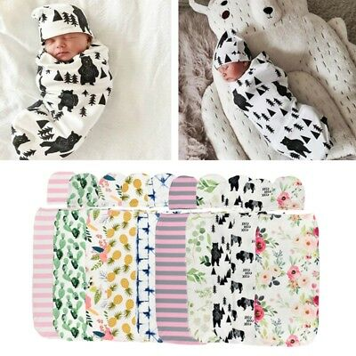Baby Swaddle Blanket + Cap Newborn Cocoon Wrap Cotton Swaddling Bag Sack Bedding