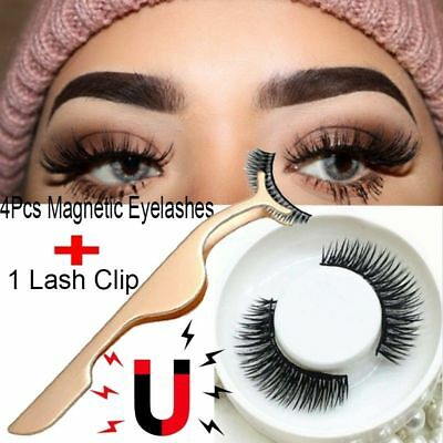 4pcs 3D Magnetic False Eyelashes Natural Eye Lashes Extension with Tweezer US