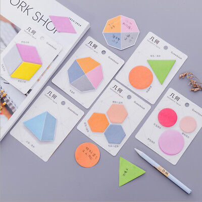 Geometric Sticky Notes Sticker Marker Memo Notepad Bookmark Paper Stationery