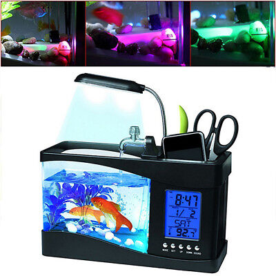 NEW USB Desktop Mini Fish Tank Aquarium LCD Timer Clock LED Lamp Light P118HC