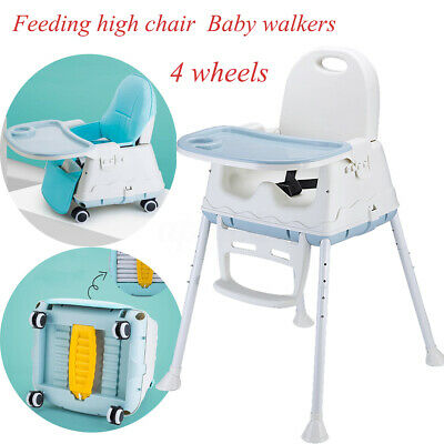 3 in 1 Childcare Timber Baby High Chair Stroller Walker Feeding Highchair+Wheels