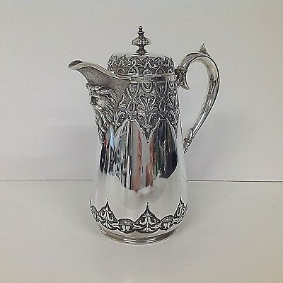 Victorian Silver Plated Elegant English Water Jug by Thomas Bradbury & Sons HUGE