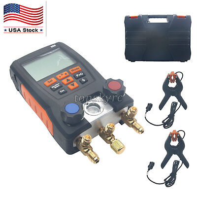 Refrigeration Digital Manifold Meter Kit for Testo with 2PCS Clamp Probes US #