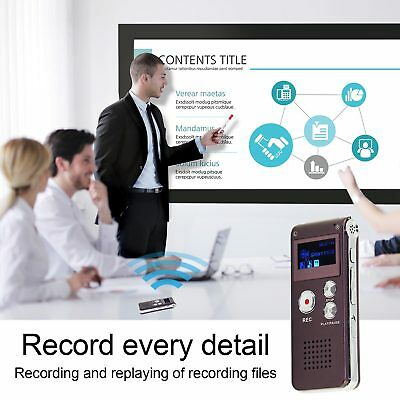 8GB Digital Sound Voice Recorder Steel Dictaphone MP3 Player Record Rechargeable