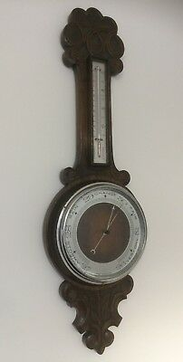 Antique English Edwardian Carved Oak Banjo Aneroid Barometer & Thermometer
