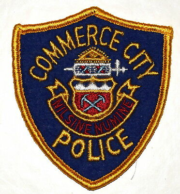 """COMMERCE CITY COLORADO CO Police Sheriff Patch STATE SEAL VINTAGE OLD MESH 3.5"""""""