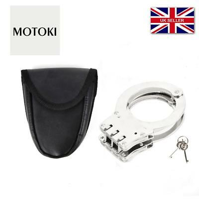 Heavy Duty Silver 3 Hinge Security Police Military Handcuff with Pouch & keys