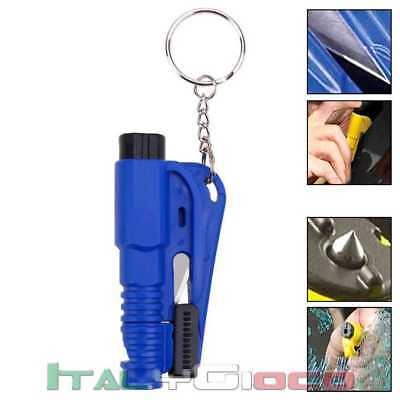 Car Auto Escape 3in1 Salvavita Rompi Vetro Taglia Cinture Fischietto Blu