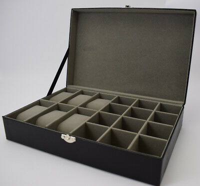 NEW Lizard Skin Watch and Cufflinks Box Storage Case Organiser Mens Fathers Gift