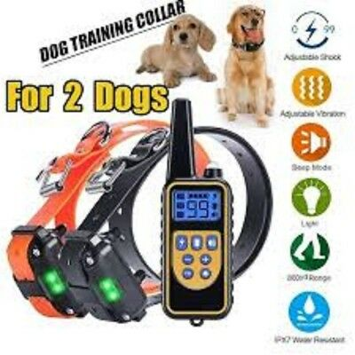 2 Dogs Remote Training Collar Belt Rechargeable and Rainproof 800M LCD Electric