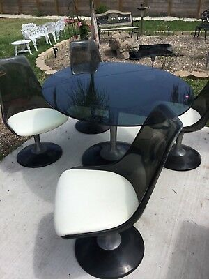 Vintage Mid-Century Knoll Style  Chrome Craft Table And Tulip Chairs