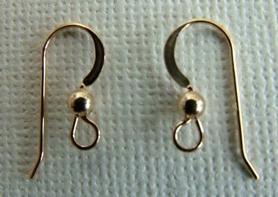 Rolled Gold Filled Earring Ear Hook Wire French Fish Ball Flat Yellow  x 1pr