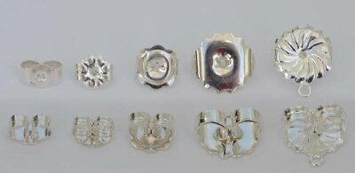 Sterling Silver Earring Backs Butterfly Scroll Nuts Small Medium Large  XL