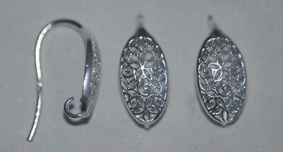 Sterling Silver Earring Ear Hook Scroll Oval Thick Wire With Loop x 1pr