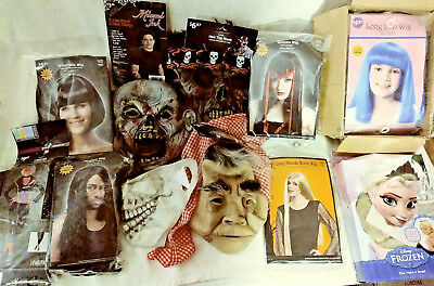 Halloween Masks & Wigs Costume Accessory Lot 19 Items Total Free Fast Shipping