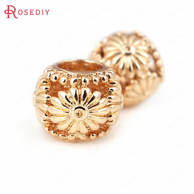 (30927)6PCS 9X7MM Quality Gold Color Brass Flower Spacer Bracelet Beads