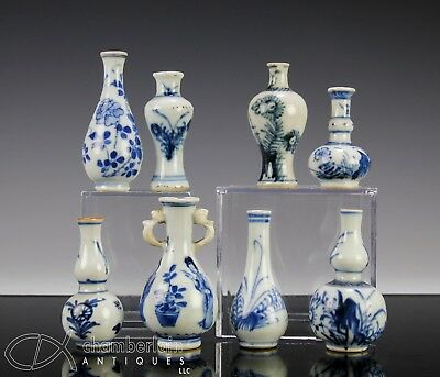 Great Lot Of Antique Chinese Blue + White Porcelain Cabinet Vases - Qing Dynasty