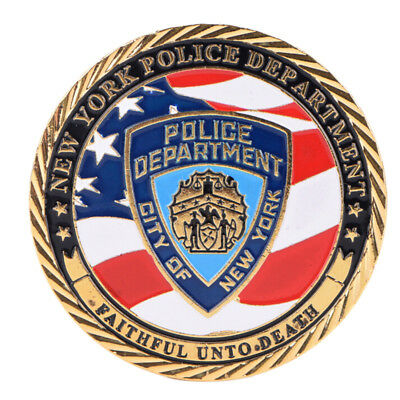 New York Police Department Gold Plated Commemorative Challenge Coin Collect PT
