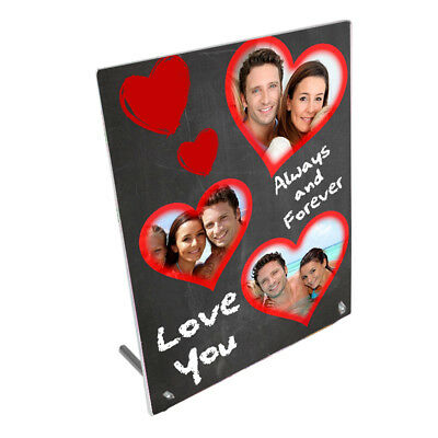 """Personalised Forever In Love Hearts 8"""" x 10"""" Toughened Glass Panel"""