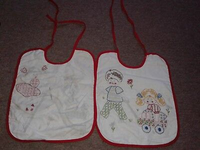 Vintage Baby Bibs Lot Of 2  ~ Hand Embroidery Unfinished