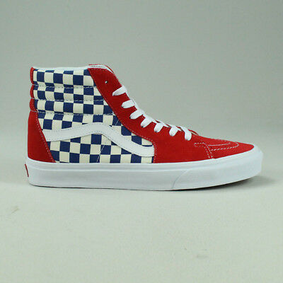 29cf20861e Vans BMX Checkerboard Sk8 Hi Shoes Trainers in Blue Red in UK Size 6