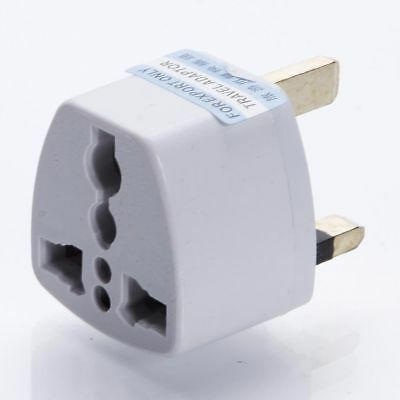 New Eu 2 Pin to UK 3 Pin Plug Adaptor Euro EU Travel Mains Adaptor White