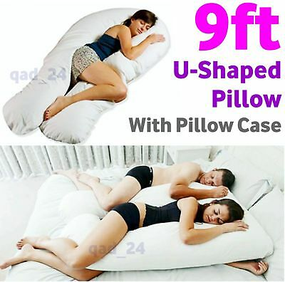 9ft Giant U Shaped Pillow With Cover -Pregnancy Maternity Bed Body Back Support