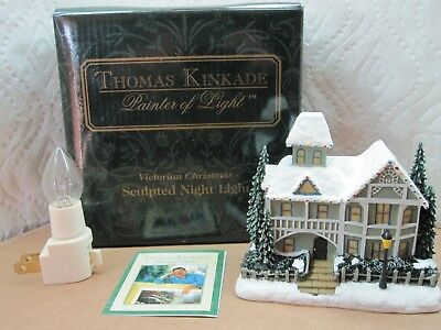 Thomas Kinkade Painter Of Light Sculpted Night Light Victorian Christmas NIB
