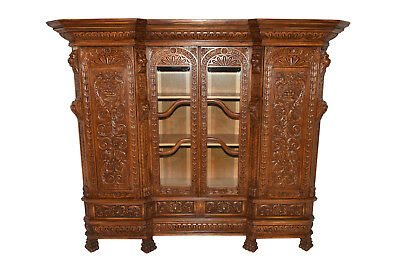 Antique French Renaissance Office Library Bookcase Carved Display Cabinet