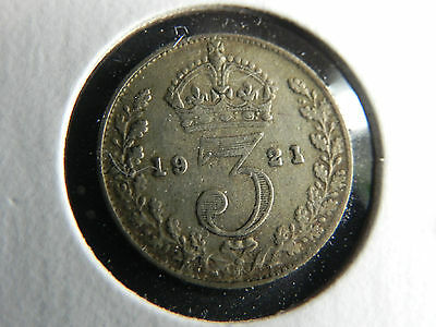 ~1921~ Great Britain Three-Pence.  Nice **silver** Coin