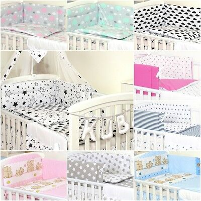 COT BEDDING SET & COT BED 3 5,11 DUVET, CANOPY -Pink, Grey, Mint, Stars, Clouds