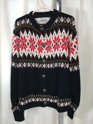 Vintage 1960's Black & White Snowflake Knit Young Child Sweater