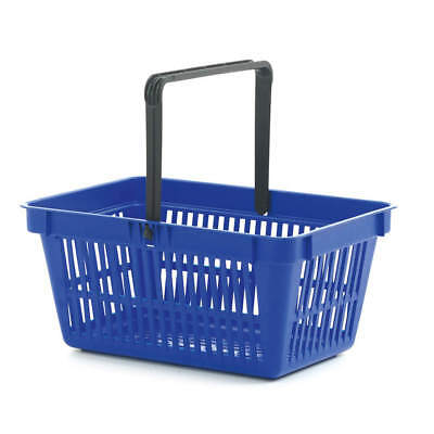 Blue 22L Plastic Shopping Baskets with Handle & Stackable Pack of 3,5,6 or 10