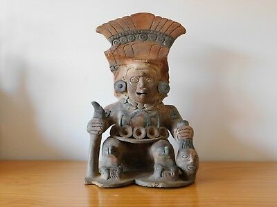 Large Ancient Aztec Mayan God Terracotta Statue Figure