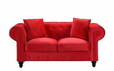 MODERN RED TUFTED Chesterfield Scroll Arm Velvet Love Seat Sofa with ...