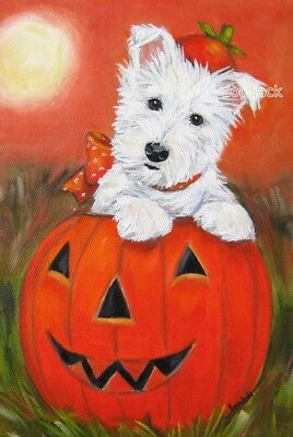 """West Highland Terrier WESTIE MATTED PRINT Painting """"JACK O' LANTERN"""" Dog RANDALL"""