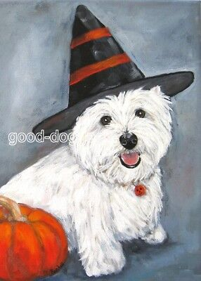 """West Highland Terrier WESTIE MATTED PRINT Painting """"HAPPY HALLOWEEN"""" Dog RANDALL"""